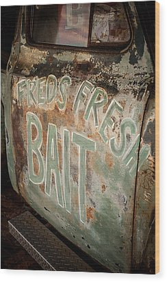 Freds Fresh Bait Wood Print by Paul Bartoszek