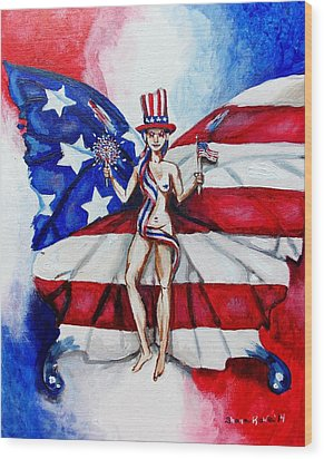 Free As Independence Day Wood Print by Shana Rowe Jackson