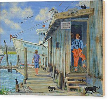 Wood Print featuring the painting Free Cats Ll by Dwain Ray