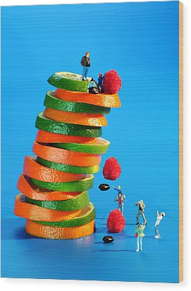 Free Falling Bodies Experiment On Fruit Tower Wood Print by Paul Ge