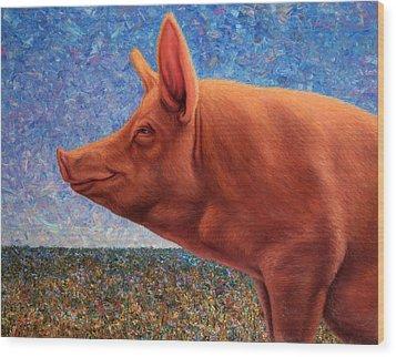 Free Range Pig Wood Print by James W Johnson