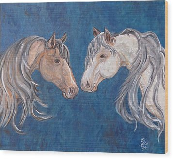 Wood Print featuring the painting Free Spirits by Ella Kaye Dickey