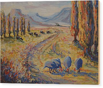 Free State Landscape With Guinea Fowl Wood Print by Thomas Bertram POOLE