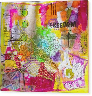 Freedom  Wood Print by Corina  Stupu Thomas