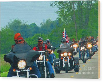Freedom Riders Having So Much Fun Wood Print by Tina M Wenger