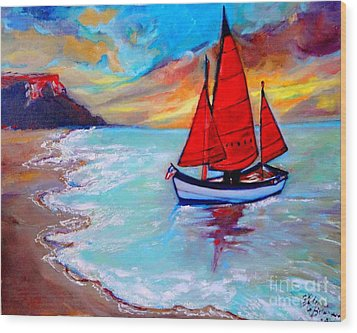 Freedom Sails Wood Print by Helena Bebirian