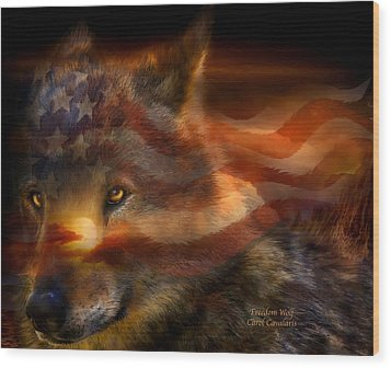 Freedom Wolf Wood Print by Carol Cavalaris