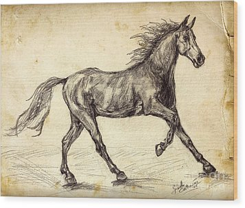 Wood Print featuring the drawing Freehand Graphite Horse Study by Ginette Callaway