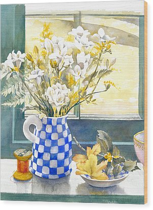 Freesias And Chequered Jug Wood Print by Julia Rowntree