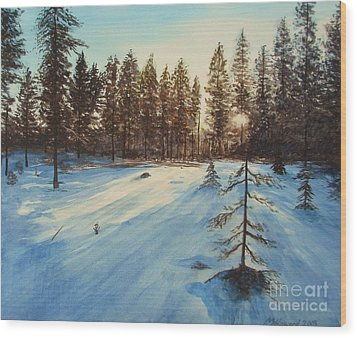 Freezing Forest Wood Print