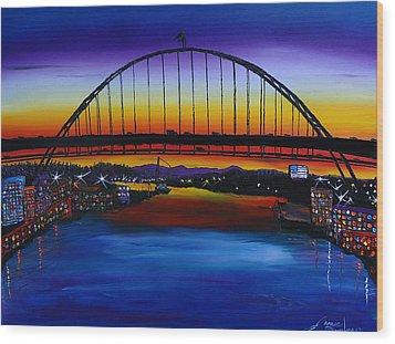 Fremont Bridge At Dusk 5 Wood Print by Portland Art Creations