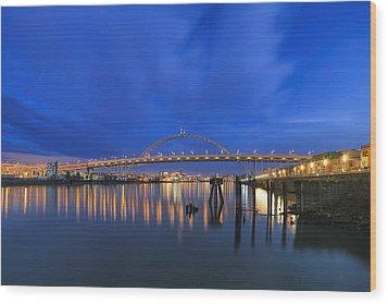 Fremont Bridge Blues Wood Print by David Gn