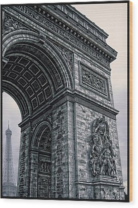 French - Arc De Triomphe And Eiffel Tower II Wood Print by Lee Dos Santos