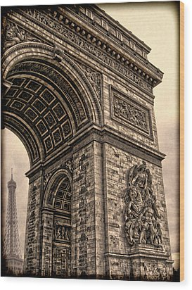 French - Arc De Triomphe And Eiffel Tower IIi Wood Print by Lee Dos Santos