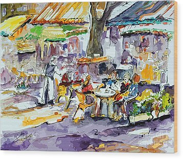 French Bistro Street Scene Wood Print