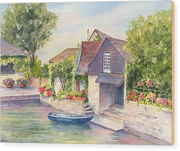 French Boathouse  Azay Le Rideau Wood Print by Vikki Bouffard