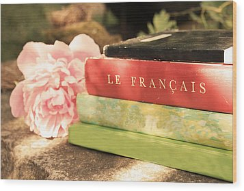 Wood Print featuring the photograph French Books And Peony by Brooke T Ryan