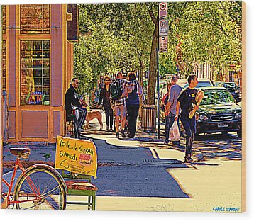 French Bread On Laurier Street Montreal Cafe Scene Sunny Corner With Vente De Garage Sign Wood Print by Carole Spandau