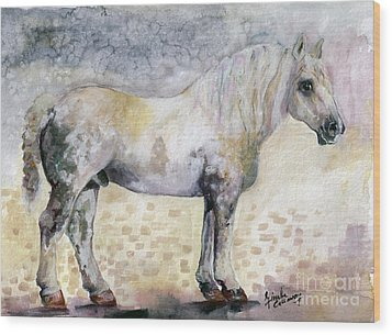 Wood Print featuring the painting French Breed Percheron Stallion by Ginette Callaway
