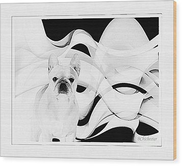 Wood Print featuring the painting French Bulldog by Barbara Chichester