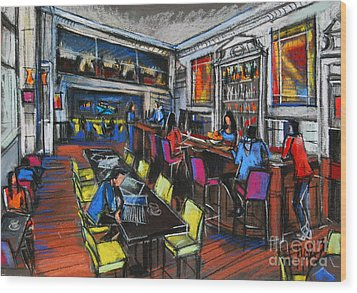 French Cafe Interior Wood Print