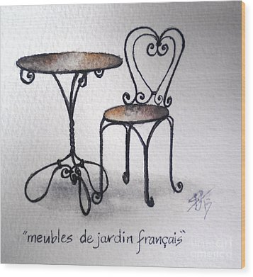 French Chair And Table Wood Print