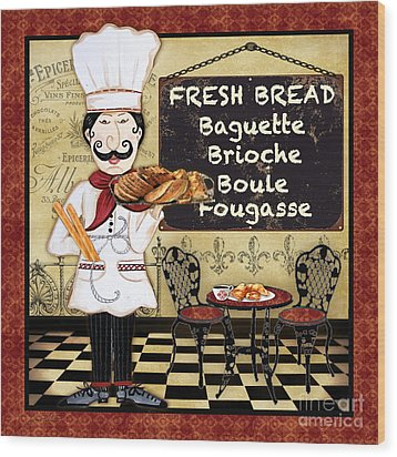 French Chef-a Wood Print by Jean Plout