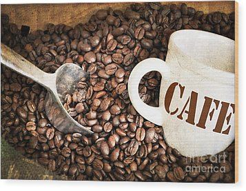French Coffee Wood Print by Delphimages Photo Creations