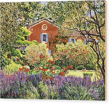 French Countryside House Wood Print by David Lloyd Glover