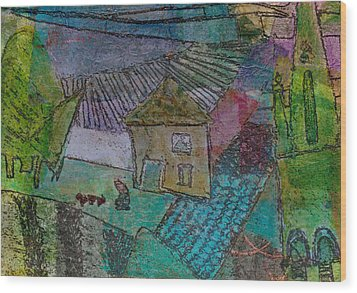 Wood Print featuring the mixed media French Farm by Catherine Redmayne