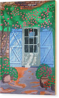 French Farm Yard Wood Print by Magdalena Frohnsdorff