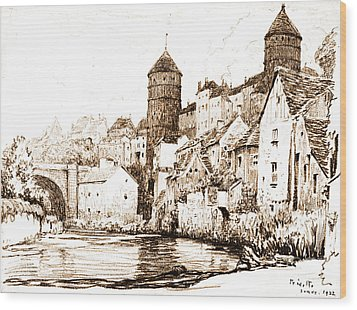 French Fortified Town 1922 Wood Print by Padre Art
