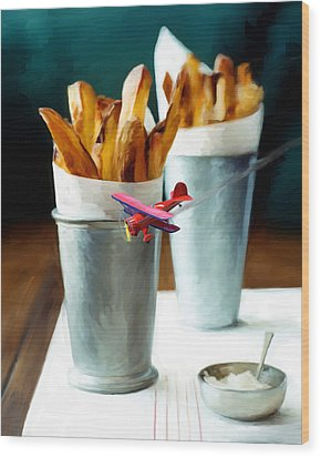 French Fries Fly-by Wood Print by Snake Jagger