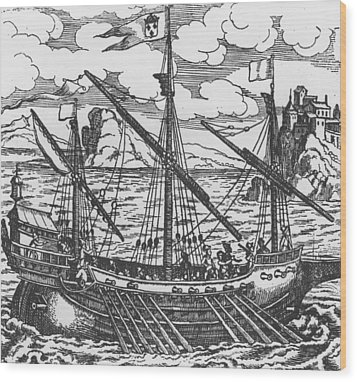 French Galley Operating In The Ports Of The Levant Since Louis Xi  Wood Print by French School