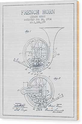 French Horn Patent From 1914 - Blue Ink Wood Print by Aged Pixel