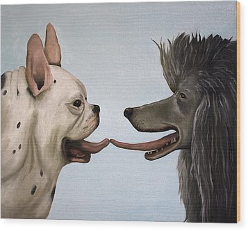 French Kiss Wood Print by Leah Saulnier The Painting Maniac