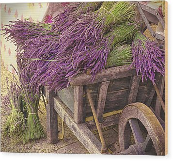 French Lavender Cart Wood Print by Phyllis Peterson