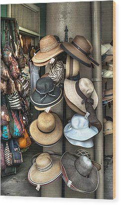 French Market Hats For Sale Wood Print by Brenda Bryant