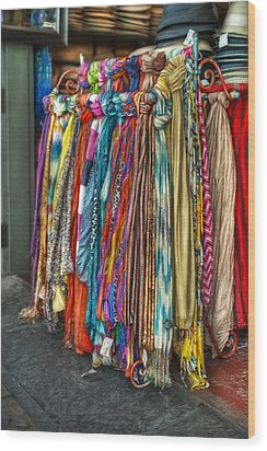 French Market Scarves Wood Print by Brenda Bryant