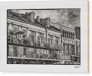 French Market View In Black And White Wood Print by Brenda Bryant