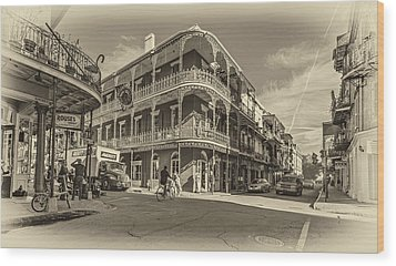 French Quarter Afternoon Sepia Wood Print by Steve Harrington