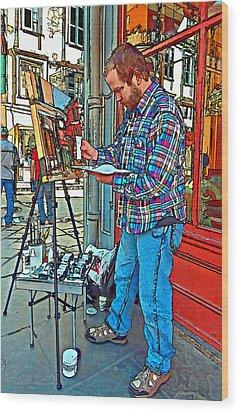 French Quarter Artist Painted Wood Print by Steve Harrington