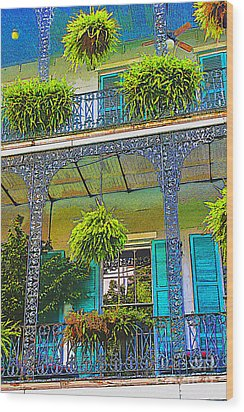French Quarter Balcony 1 Wood Print by David Doucot
