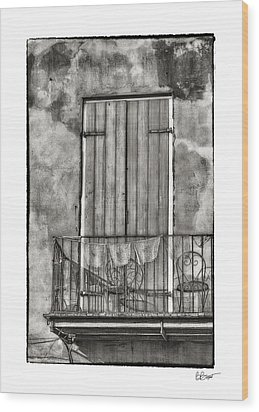 French Quarter Balcony In Black And White Wood Print by Brenda Bryant