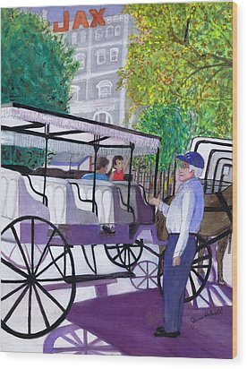 French Quarter Buggy Tour Wood Print by June Holwell