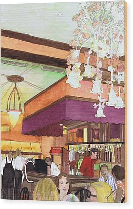 French Quarter Dining-coffee Pot Restaurant Wood Print by June Holwell