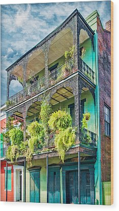 French Quarter Ferns Wood Print by Brenda Bryant