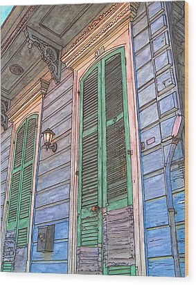 French Quarter Shutters 368 Wood Print by John Boles