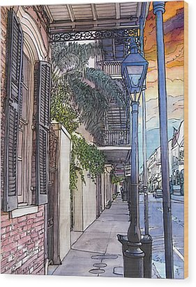 French Quarter Sidewalk 443 Wood Print by John Boles