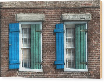 French Quarter Windows Wood Print by Brenda Bryant